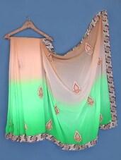 Peach And Green Embroidered Georgette Saree - Suchi Fashion