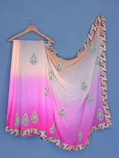 Peach And Pink Embroidered Georgette Saree - Suchi Fashion