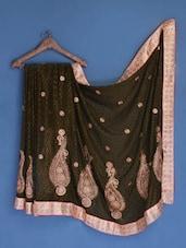 Olive Green Zari Embroidered Chiffon Saree - Suchi Fashion