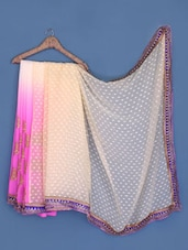 Pink And Peach Embroidered Chiffon Saree - Suchi Fashion
