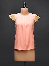 Pink Contrast Cap Sleeves Crepe Top - STREET 9