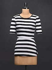 Black & White Striped Cotton Knit Top - STREET 9