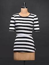 Black & White Striped Cotton Knit Top - STREET 9