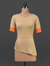 Orange Plain Solid Polyviscose Top - STREET 9