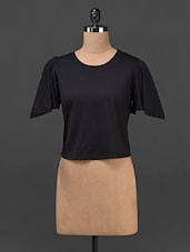 Black Plain Solid Polyviscose Top - STREET 9