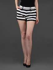 Monochrome Stripes High Waist Shorts - STREET 9