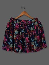 Multicolor Pleated & Floral Printed Polycrepe Skirt - STREET 9