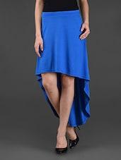 Blue Plain Solid Polyviscose Skirt - STREET 9