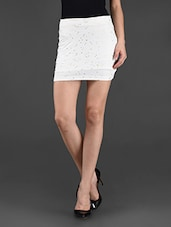 White Plain Solid Polyviscose Skirt - STREET 9
