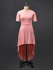Pink Asymmetric Embellished Viscose Knit Dress - STREET 9