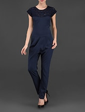 Navy Blue Plain Solid Polycrepe Jumpsuit - STREET 9