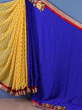 Printed-embroidered Patch Half & Half Saree - Trimurti Fashion