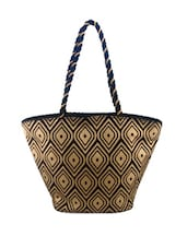 Jute Cotton Printed Handbag - ANGES BAGS