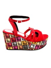 Red Faux Leather Wedge Platform Sandals - Marc Loire
