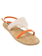 orange leatherette flats -  online shopping for flats