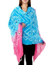 Blue, Pink Cotton Dupatta - By