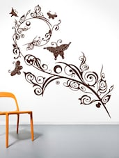 Artistic Filigree Pattern Vine With Butterflies Wall Sticker - Decor Kafe