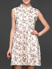 Floral Printed Shirt Collar Sleeveless Mini Dress - Magnetic Designs
