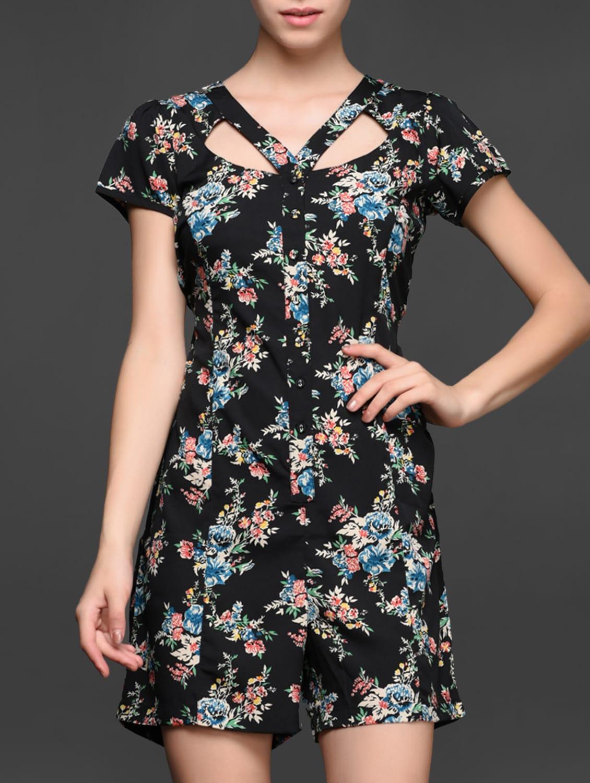 Floral Printed Short Sleeve Jumpsuit - Magnetic Designs