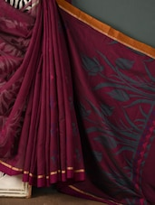 Wine Cotton Silk Blend Saree - Rang Banarasi