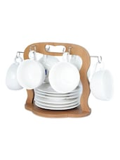 CUP & SAUCER Set WITH Bamboo RACK - Seven Seas