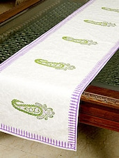 White, Purple, Green Cotton Table Runner - By