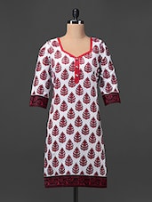 White & Red Printed Cotton Kurti - ED