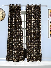 Style Homez Abstract Jacquard Gold  and Dark Brown Eyelet Curtain -  online shopping for Curtains