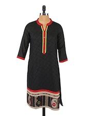 Black Three-quarter Sleeve Cotton Silk Kurta - Saffron Threads