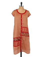 Round Neck Short Sleeve Printed Pannel Kurta - Saffron Threads
