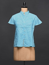 Blue Pleated Cotton Shirt - Love With India