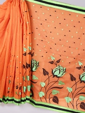 Banarasi Chanderi Orange  Saree - Avishi Saree
