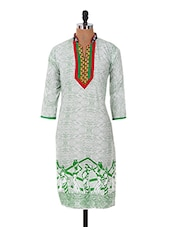 Cotton Mandarine Collar 3/4th Sleeve Kurti - Sale Mantra