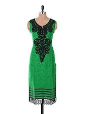 Jacquard & Cotton Embroided  3/4th Sleeve   Kurti - Sale Mantra
