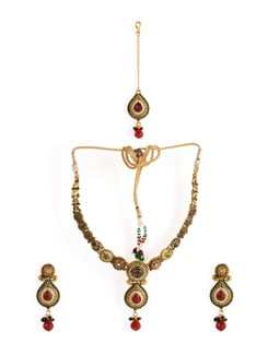 Gold Necklace Set With Ruby Droplet - Jorie Bazaar