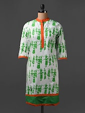 Tribal Print Quarter Sleeves Cotton Kurta - SHREE