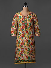 Quarter Sleeves Floral Print Cotton Kurta - SHREE