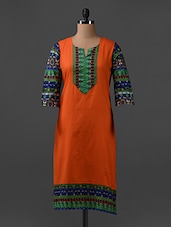 Printed Quarter Sleeves Cotton Kurta - SHREE