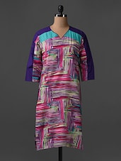 Quarter Sleeves Abstract Print Cotton Kurta - SHREE