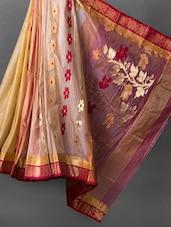 Zari Embellished Beige Silk Cotton Tussar Saree - RKB