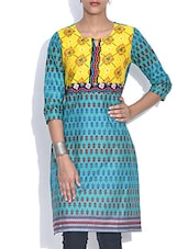 Sky Blue Printed Cotton Kurta - By