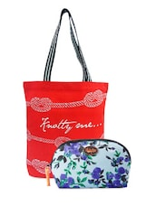Star Printed Tote Bag & Floral Pouch Combo - Be... For Bag