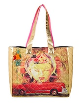 Graphic Printed Leatherette Tote Bag - The House Of Tara