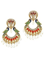 Gold Plated Alloy With Maroon Green Crystals Earrings - Rich Lady