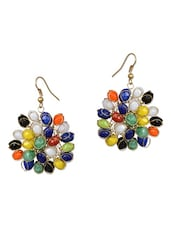 Multi Color Cluster Of Beads Earing - Hopping Street