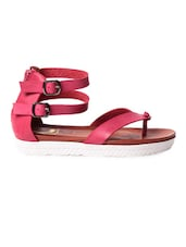 Pink Faux Leather Strappy Sandals - Klaur Melbourne