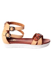 Beige And Brown Faux Leather Strappy Sandals - Klaur Melbourne