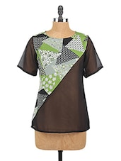 Round Neck Printed Crepe Top - Fashion205
