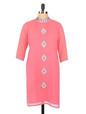 Pink Turtle Neck Georgette Kurta - Fashion205