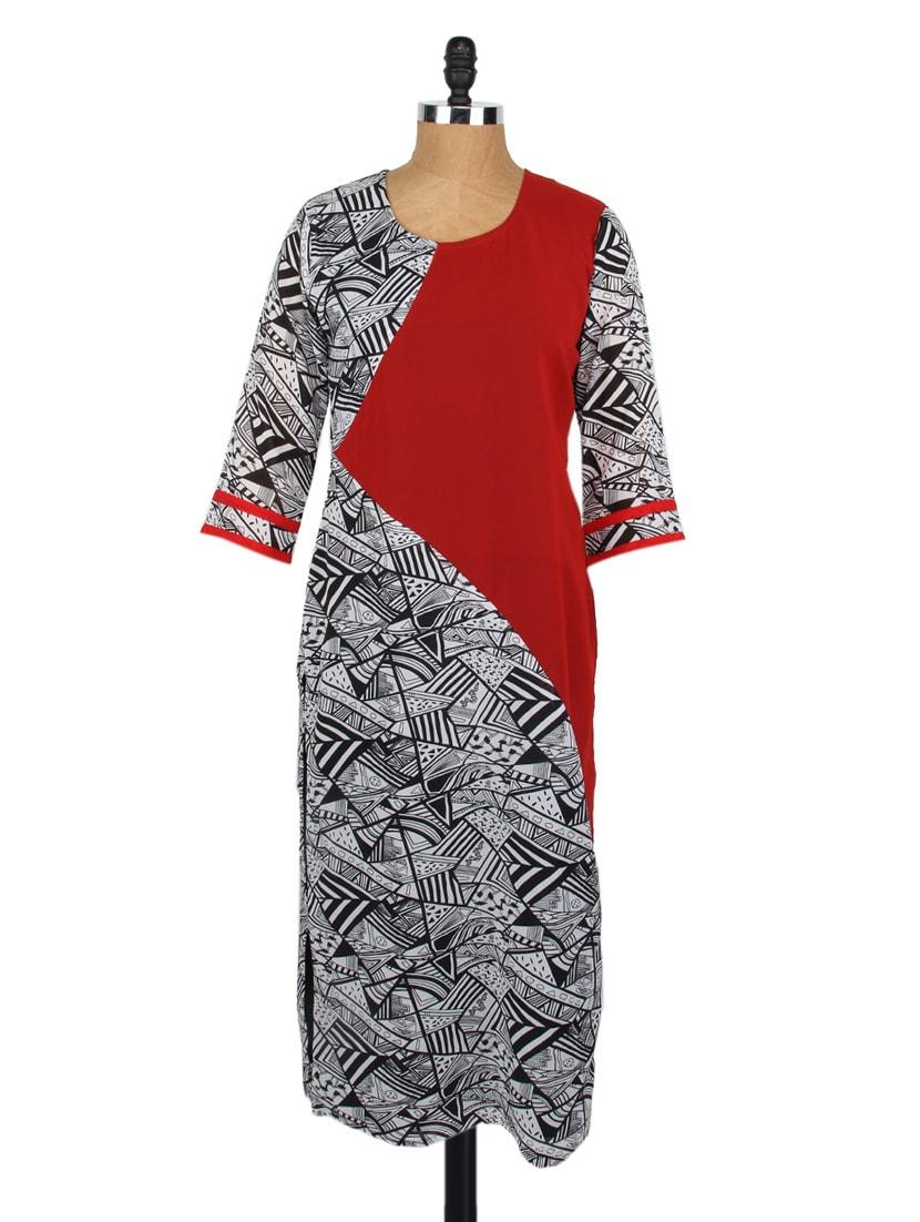 Round Neck Quarter Sleeves Georgette Kurta - Fashion205